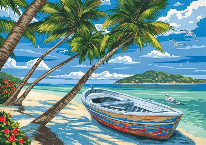 Набор алмазной вышивки/мозаики Лодка на пляже 34х24 см WX2409