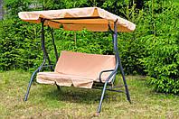 Уличные садовые качели разборные дачные для дачи сада и отдыха качеля садовая с навесом бежевая