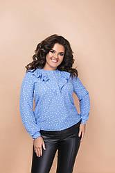 Жіноча сорочка в горошок з воланами на грудях (Батал)