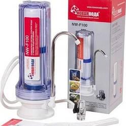 Фильтр для воды Новая Вода NW-F100 с подключением к крану, настольный с прозрачной  колбой