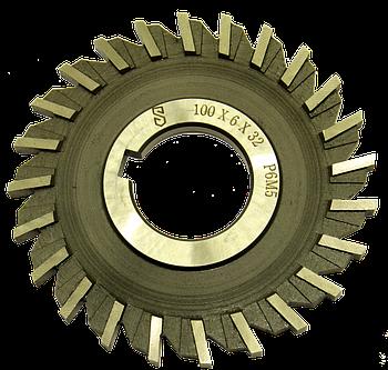 Фреза дисковая трехсторонняя 100х6х32 Р6М5 прямой зуб, ГОСТ 28527-90