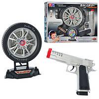 Пистолет 2148 (48шт) 20см, мишень в виде колеса 16см, муз, свет, на бат-ке, в кор-ке, 31-26-6см