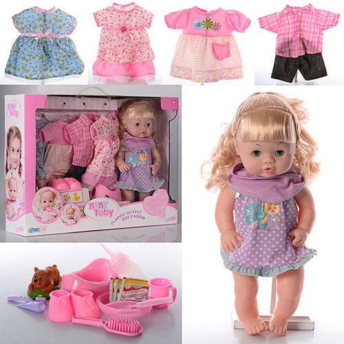 Кукла 30800-11C  39см,звук,наряды4шт,бутылочка,горшок,тарелка,каша,в кор-ке,55,5-41-13,5см