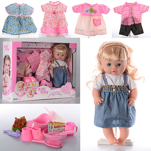 Кукла 30800-7C  39см,звук,наряды4шт,бутылочка,горшок,тарелка,каша,в кор-ке,55,5-41-13,5см