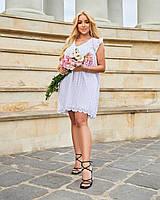 Жіноча коротке літнє плаття з прошвы батал білий