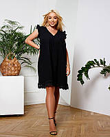 Жіноча коротке літнє плаття з прошвы батал чорний