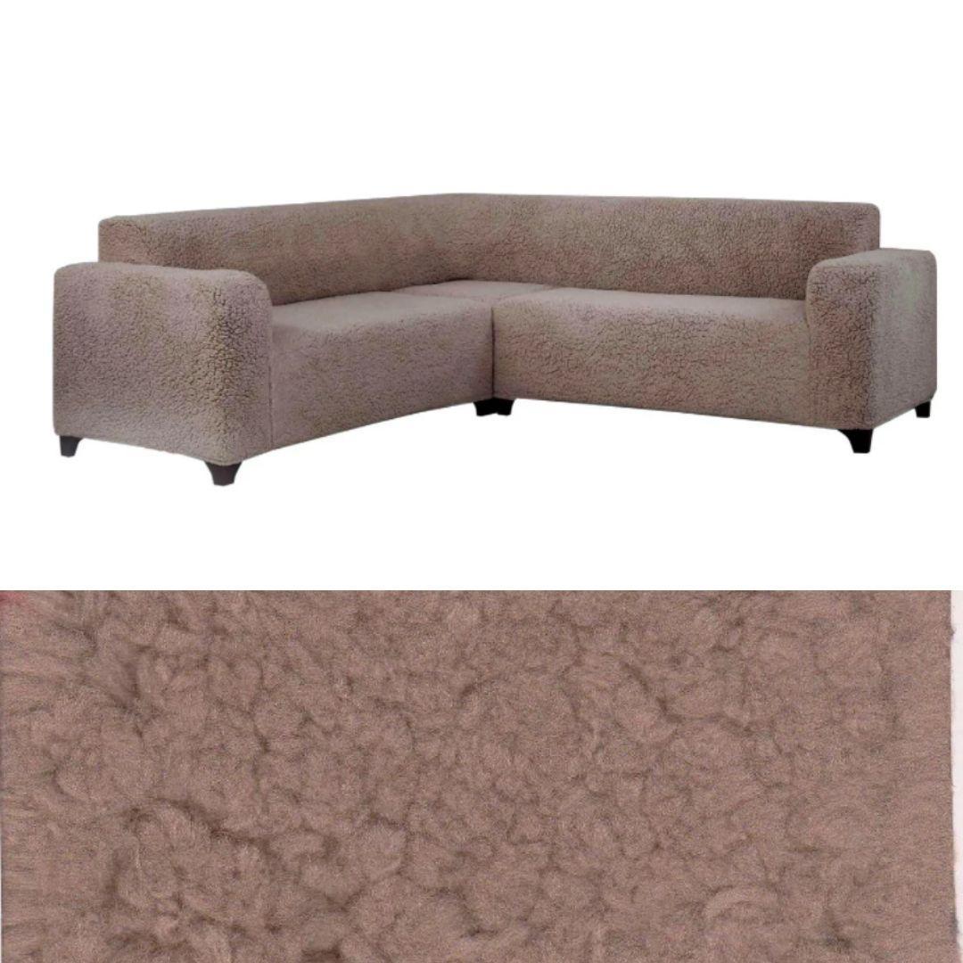 Чехол на угловой диван накидка плюшевый, турецкий чехол на угловой диван еврочехол меховый Кофейный