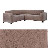 Чехол на угловой диван накидка плюшевый, турецкий чехол на угловой диван еврочехол меховый Кофейный, фото 1