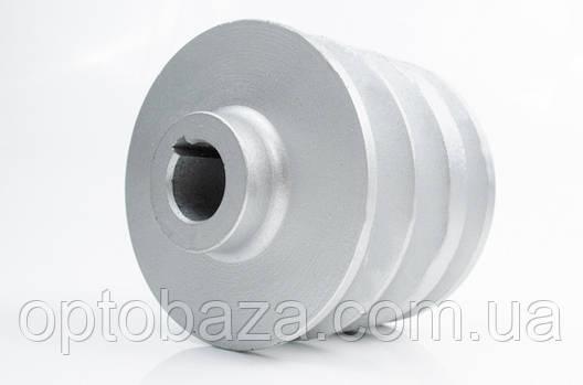 Шкив 3-х ручейный под вал 20 мм для мотоблока бензинового 6 л.с., фото 2
