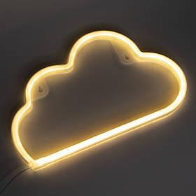 Неоновый светильник настенно-потолочный ночник - Облачко, ночник, 30*2,2*18,7 см, USB провод (141424)