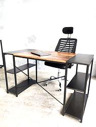 Стол письменный компьютерный LOFT STYLE с полками  Черно-коричневый