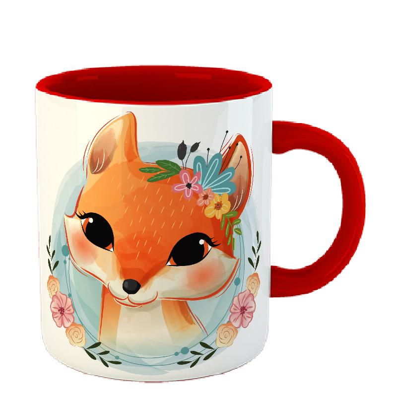 Чашка Лисица в цветах