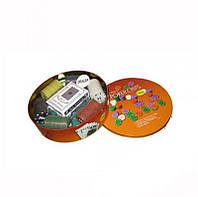 Покерный набор в круглой металлической коробке
