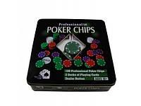 Покерный набор 100 фишек в металлической коробке