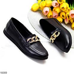 Комфортные кожаные черные женские мокасины натуральная кожа с декором