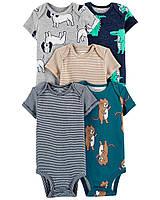 Комплект бодиков з коротким рукавом для хлопчика Carters Тварини