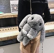 Детская сумка рюкзак меховой заяц