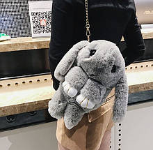 Дитяча сумка рюкзак хутряний заєць