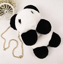 Дитячий хутряний рюкзак сумочка Панда. Дитяча сумка рюкзачок хутряний Панда.