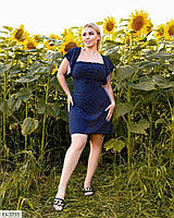 Женственное короткое нежное однотонное натуральное платье в горошек Размер: 50-52, 54-56 арт. 05529, фото 1