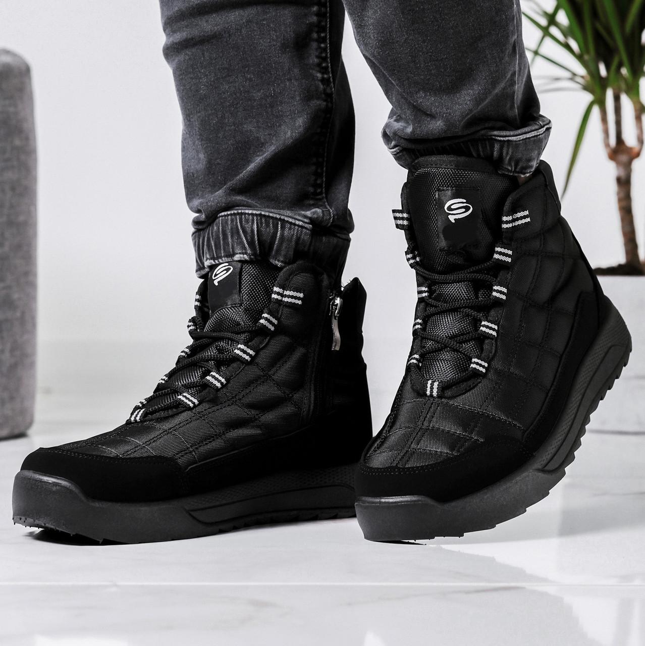 Ботинки мужские зимние на шнуровку и молнию (Пр-3804ч)