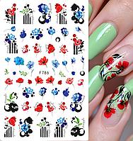 Слайдер, наклейка для дизайна ногтей F-786 цветы