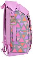 Рюкзак міський YES Roll-top T-61 Colorful Geometry 18 л Фіолетовий (557309), фото 2