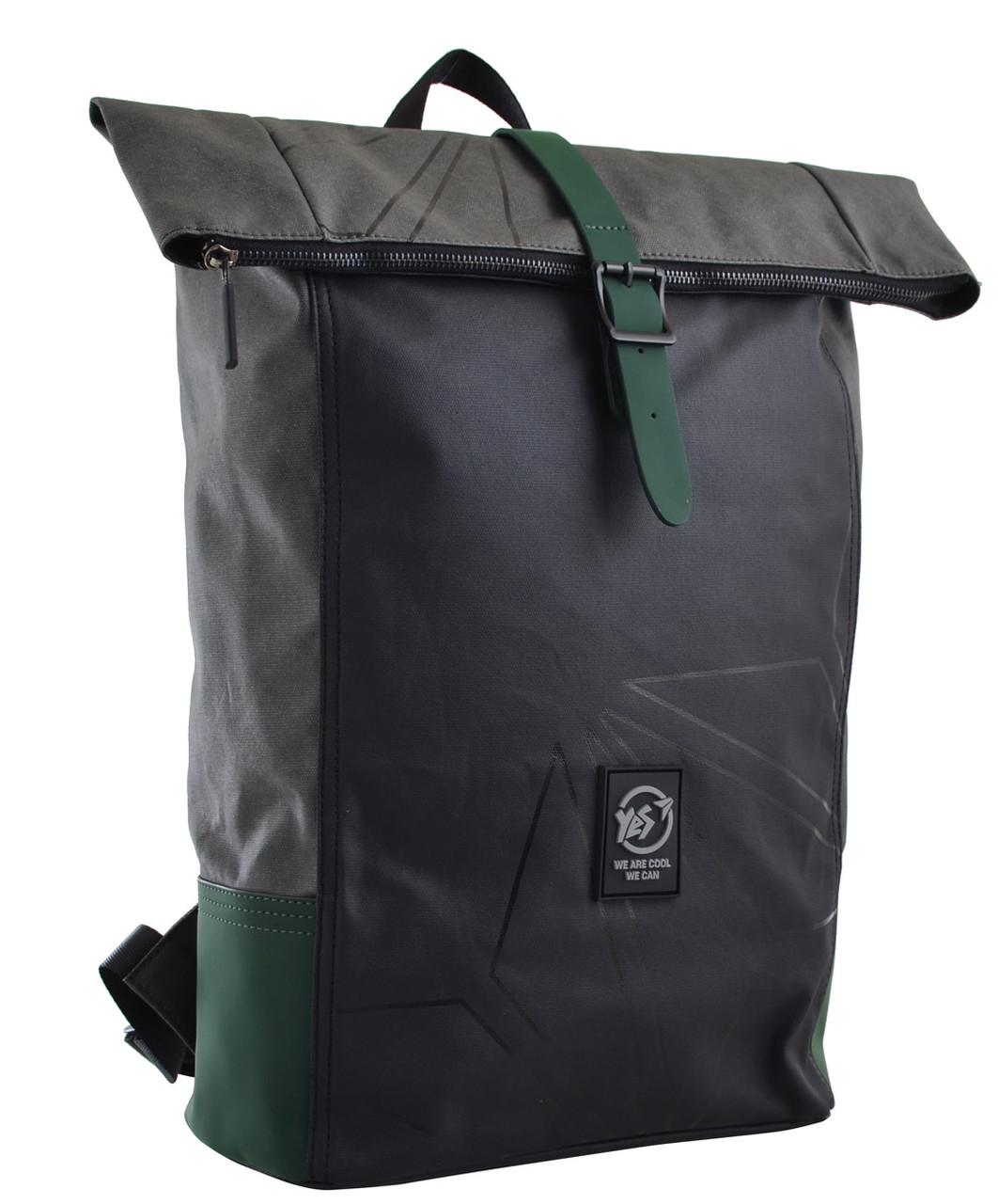 Рюкзак міський YES Roll-top T-77 17.5 л Green Anthracite (557430)