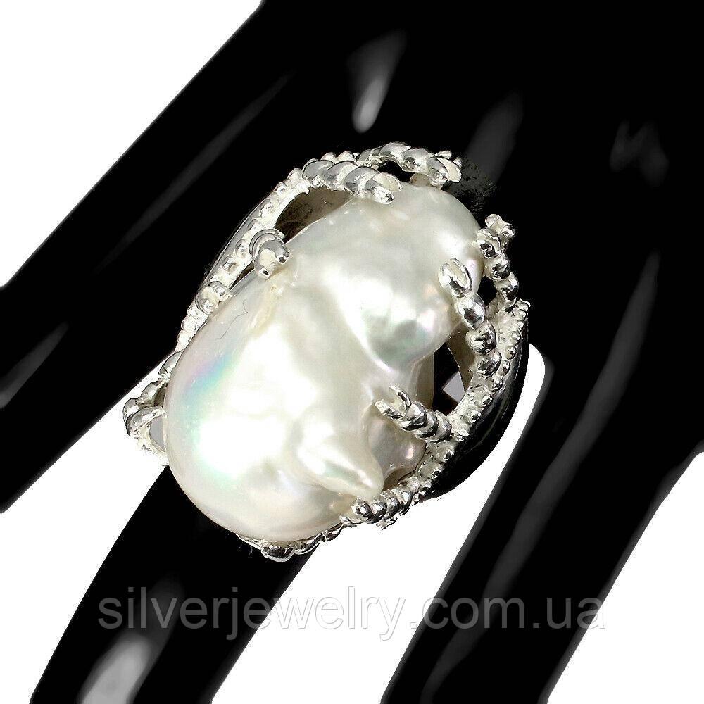 Срібне кільце з БАРОКОВИМ ПЕРЛАМИ (натуральний), срібло 925 пр. Розмір 19