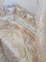 """Бортики в кроватку """" золотые короны"""", фото 1"""