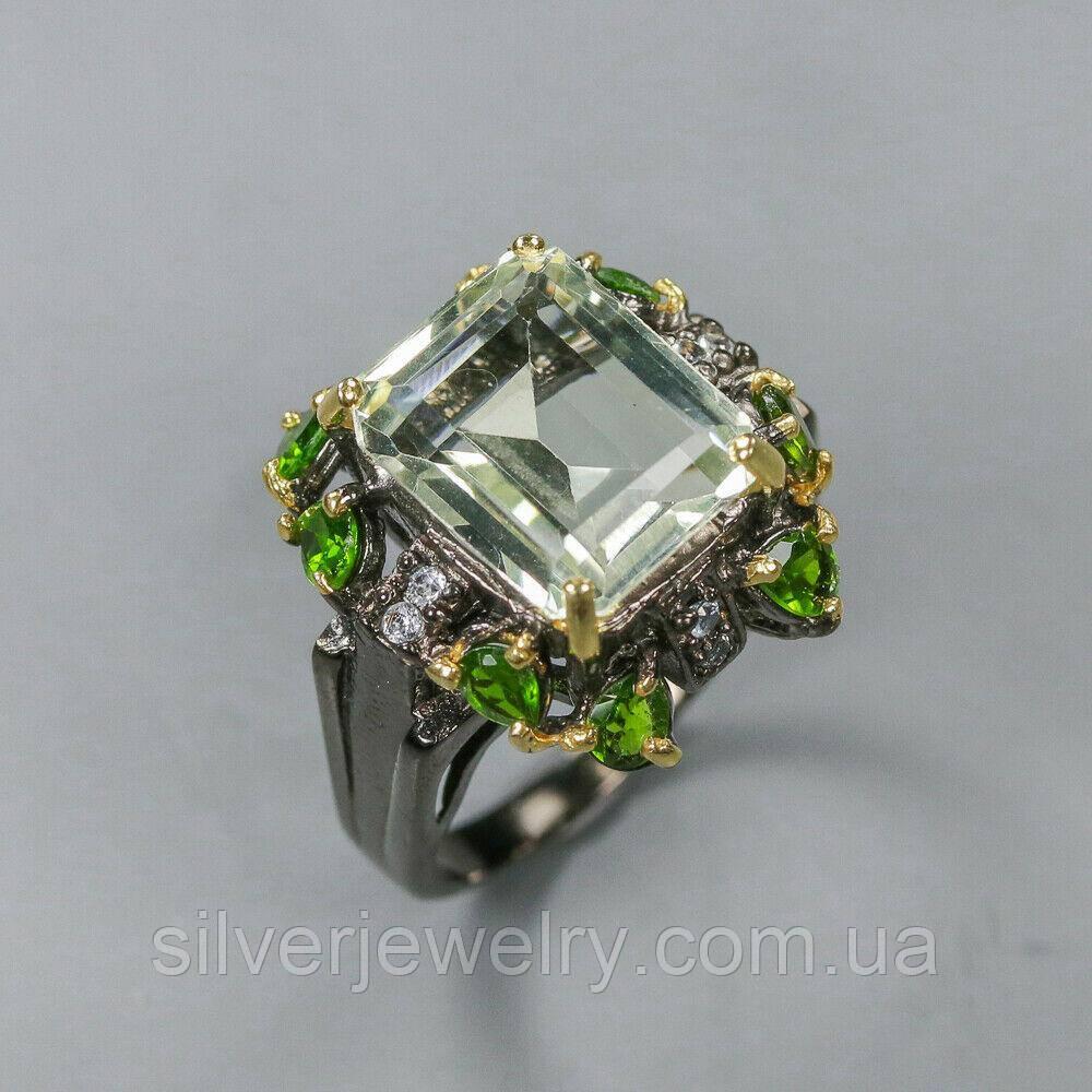 Серебряное кольцо с ПРАЗИОЛИТОМ (зеленый аметист), серебро 925 пр. Размер 18,5