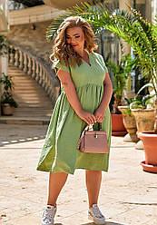Женское зеленое платье миди свободного кроя