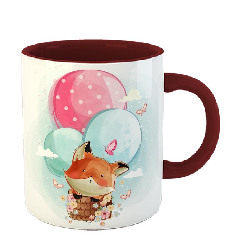 Чашка Лиса на воздушных шарах