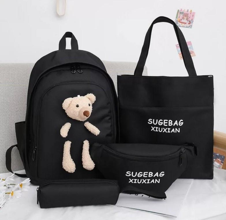 Комплект 4в1 рюкзак + бананка + сумка + пенал 41*30 см комплект для дівчинки іграшка Ведмедик Liza