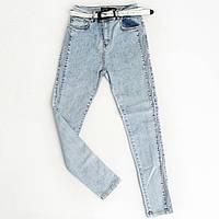 УЦЕНКА (нюанс) - Зауженные джинсы с высокой талией и сеткой сбоку Sherocco (Турция) 7061. Разм. 28 - УЦЕНКА, фото 1