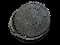 """Люк """"Garden"""" полимер-песчаный чёрный  4,5 т. д 700 мм"""