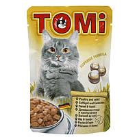 Консервы для кошек TOMi, кролик и птица, пауч, 0.1кг