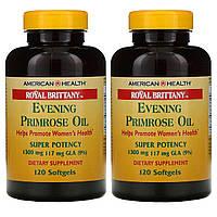 American Health, Royal Brittany, масло примулы вечерней (EPO), 1300 мг, 2 баночки по 120 капсул