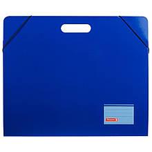 Папка картонная для листов А3 Brunnen с двумя клапанами резинкой и ручкой Синяя