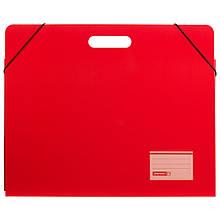 Папка картонная для листов А3 Brunnen с двумя клапанами резинкой и ручкой Красная