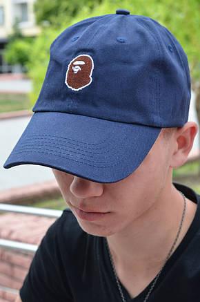 Кепка Бейсболка Мужская Женская A Bathing Ape Bape с обезьяной Темно-синяя, фото 2