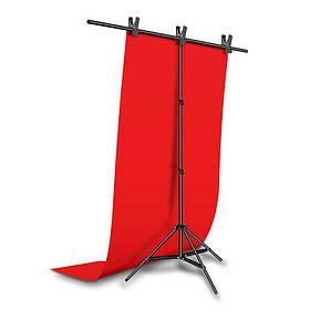 Фотозона для съемки ПВХ Фон 120×200 см.Красный + Держатель фона