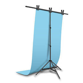 Фотозона для съемки ПВХ Фон 120×200 см.Голубой + Держатель фона