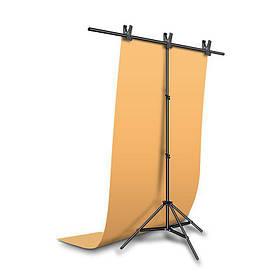 Фотозона для съемки ПВХ Фон 120×200 см.Оранжевый + Держатель фона