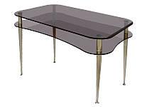 Стеклянный стол с полкой