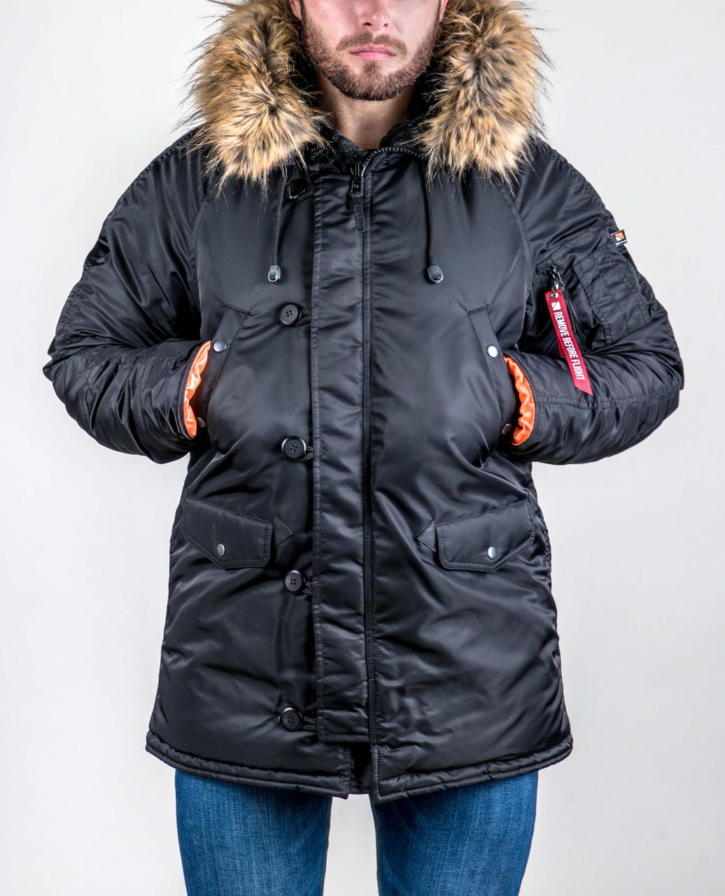 Зимняя мужская куртка аляска Olymp - N-3B, Slim Fit, Color: Black (100% Нейлон)