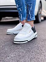 Кроссовки мужские белые с черными вставками. Мужские кроссовки яркие белого цвета.