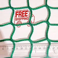 Сітка безузловая іспанська, д. 3мм. осередок 4,5 см. поліпропілен, спортивна огороджувальна захисна, зелена