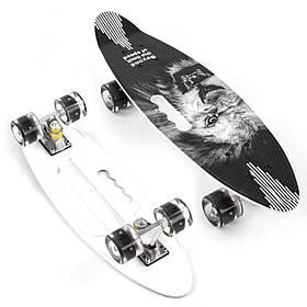 Скейт (PU колеса з підсвічуванням) Best Board A 45220 Чорний з левом