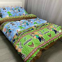 """Детское постельное белье Casa Ricco - Сатин Голд """"Майнкрафт"""" (Полуторный размер)"""